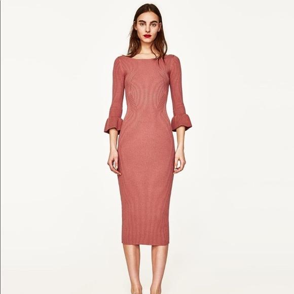 a8c8b746ef Zara Ribbed Knit Midi Dress NWT